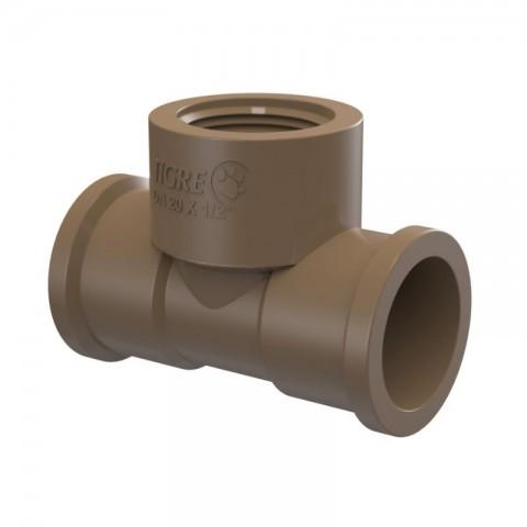 """TE DE REDUÇÃO PVC SOLDA L/R 3/4"""" (25 MM) X 1/2"""" TIGRE"""